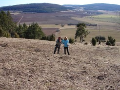 Frau Ludwig und der Nutzer der Halbtrockenrasen am Hornberg besprechen den Fortgang der Pflegemaßnahmen