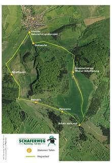 Die Karte zeigt die einzelnen Stationen des Schäferwegs