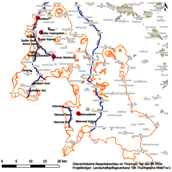 Übersichtskarte Riesenbärenklau-Vorkommen im BR Rhön