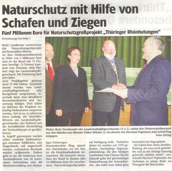 Zeitungsartikel von der Eröffnungsfeier