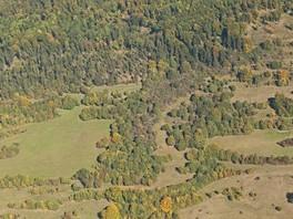 Das Schrägluftbild zeigt einen Ausschnitt vom Südhang der Hohen Geba, das Ziegenprojekt II hat erfolgreich eine Schneise in die flächige Verbuschung geschlagen - ein Beitrag zum Biotopverbund. Das Bild ist ähnlich wie das vorangegange, nur aus einer a