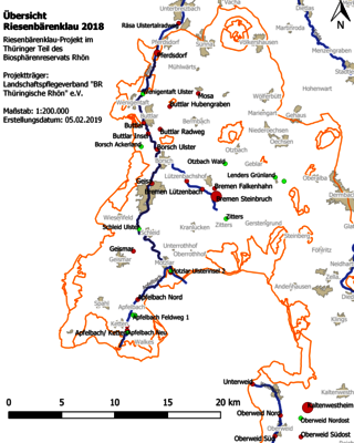 Übersichtskarte zur den bekannten Riesenbärenklau-Beständen