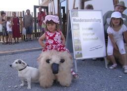 Ein kleines Mädchen im roten Kleid nahm die Sitzschafe wörtlich und setzte sich selbstbewusst drauf. Neben ihr wachte ein kleiner weißer Hund.