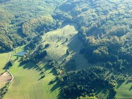 Nadelgehölzbestände unterbrechen den Biotopverbund in der Wiesenthaler Schweiz (Foto: D. Stremke, Okt. 2006)